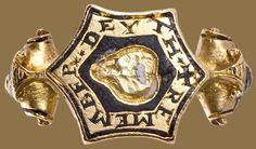 England, 16th century, Renaissance Memento Mori Ring, gold with black and white enamel,