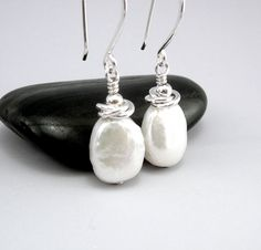 Coin Pearl Earrings  Silver and Pearl Dangle by TouchOfSilver