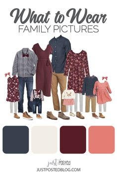 family photo outfits Navy, Plum, Pink and Cream make up this picture perfect family look for a fall or winter family photo. This link has 8 different options for what to wear for f Fall Family Picture Outfits, Spring Family Pictures, Family Portrait Outfits, Family Picture Colors, Winter Family Photos, Christmas Pictures, Family Portraits, Family Posing, Christmas Cards