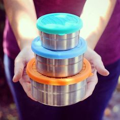 New at BeHomeWell - this set of three nesting, lightweight, nontoxic, leak-proof, stainless snack containers from EcoLunchbox are a lifesaver for kid or adult snacks on the go! Bring one for the road, or load up all three - post-snacking, they nest together to minimize bulk and mess. For scale, the big size easily packs a full sized bagel sandwich with the works. We love to keep these in our bag with our travel bamboo utensil set, for zero waste meals anytime/anywhere!