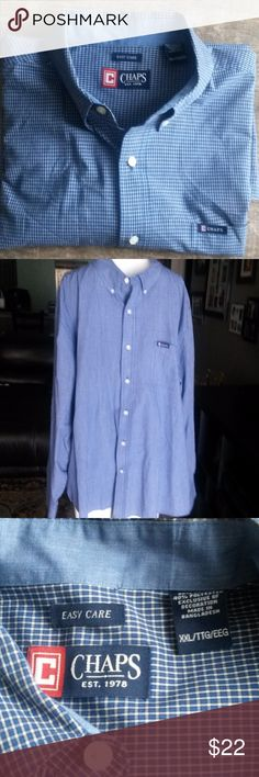 """🍁Chaps blue & white checked, long-sleeved shirt Easy care, blue and white checked, long-sleeved shirt. Shirt length: 27"""", sleeve length: 26"""" EUC Chaps Shirts Casual Button Down Shirts"""