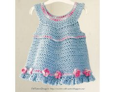 Ravelry: BLUE TUNIC/TOP/DRESS with ROSES.  For Babies and Toddlers, Crochet Pattern by  Ingunn Santini