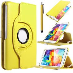 """Samsung Tab4 7.0 CASE,ULAK Case for Samsung Galaxy Tab4 7.0"""" T230 /T231/ T235 Galaxy Tab 4 Nook PU Leather 360 Rotating Stand Cover with Screen Protector + Stylus (Yellow) ULAK http://www.amazon.com/dp/B00NBMU7Z2/ref=cm_sw_r_pi_dp_3sPdub0Z487P5"""