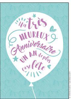Carte Un an de plus �a se f�te pour envoyer par La Poste, sur Merci-Facteur ! Birthday Wishes, Happy Birthday, Bday Cards, Birthday Images, Presents, Messages, Words, Photoshop, Wallpapers