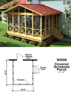 #ProjectPlan 90008- Covered #ScreenPorch: This simply designed gable roof screened-in #porchplan provides a shaded, insect-free place to relax and entertain outdoors.    Screened Door & Stair Plans Included  Package Contains 3 Different Sizes  10'x12'  12'x14'  14'x16'