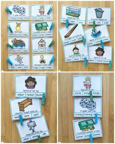 Klypekort for å øve på språklyder, nærmere bestemt NK-lyd og NG-lyd Preschool Activities, Montessori, Norway, Kindergarten, Crafts For Kids, Language, School Ideas, Teaching, Books