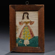 American School, 19th Century      Small Portrait of a Lady Wearing a Fancy Gown.