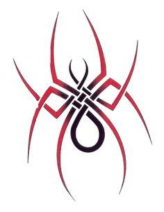 Spider With Slim Legs Tribal Tattoo