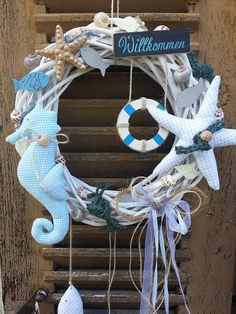 Door wreath Willow wreath Maritime seahorse Shabby by mein rosa rot on DaWandaf . Sea Crafts, Seashell Crafts, Diy And Crafts, Baby Crafts, Fabric Wreath, Burlap Wreath, Garden Hose Wreath, Willow Wreath, Deco Marine