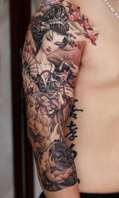55 Awesome Japanese Tattoo Designs Art and Design Geisha Tattoos, Irezumi Tattoos, Geisha Tattoo Sleeve, Geisha Tattoo Design, Leg Tattoos, Body Art Tattoos, Tattoo Ink, Letter Tattoos, Buddha Tattoos