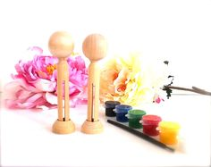 DIY Wedding Cake Toppers Clothespin Dolls Paint Kit 2 Wood Peg Dolls Bride and Groom Naked Ready To Paint Do it Yourself Bridal Gift. $22.95, via Etsy.