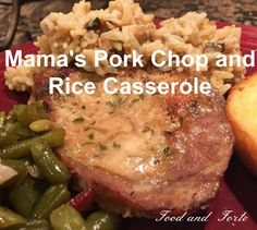 Mama's Pork Chop and Rice Casserole--a delicious super simple meal for busy days. It takes little prep time with just a few ingredients.
