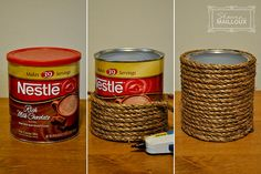 DIY round basket - coffee can, rope, hot glue-possible idea for centerpieces I…
