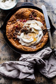 Sweet Potato Pie Dutch Baby - so easy to prepare, just add everything to a blender, blend, pour into a skillet & bake...DELICIOUS! From halfbakedharvest.com