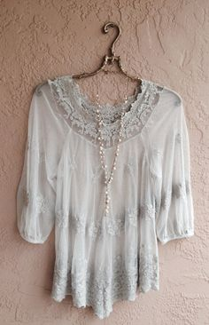 Bohemian sheer romantic embroidered lace top