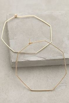 Anthropologie Hexagon Hoops - women's jewelry (gold earrings, fashion accessories)