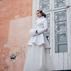 Bridal coat  Warm Elegant Bridal Felted coat  White by DressInFelt