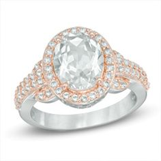 Oval Lab-Created White Sapphire Frame Ring in Sterling Silver with 18K Rose Gold Plate - Size 7