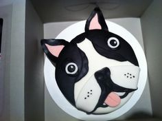 My friend made me a Boston Terrier cake once ( Tarkman!), it was awesome!for Robert's bday Boston Terrier Cake, Boston Terrior, Dog Cakes, Cupcake Cakes, Cupcakes, Dream Cake, Cake Icing, Novelty Cakes, Culinary Arts