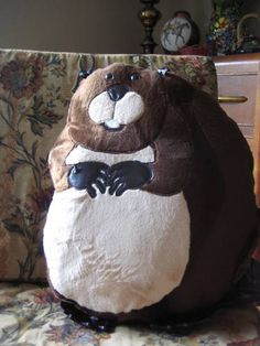 beaver pillow by Craftsterer thisbirdsabsurd