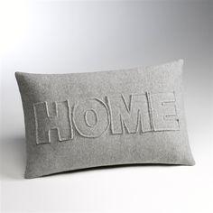 """Housse de coussin rectangulaire """"Home"""", 3 coloris"""