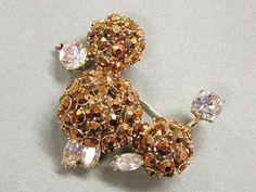 Vintage Rhinestone Poodle Dog Pin