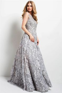 cdd7682acb2 Jovani - 47762 Embroidered Floral Cap Sleeves Gown in Silver Cap Sleeve Gown