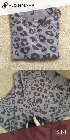 Leopard Print Forever 21 sweater Grey leopard print Forever 21 sweater. Size large. No stains rips or tears. Worn once. Forever 21 Sweaters Crew & Scoop Necks