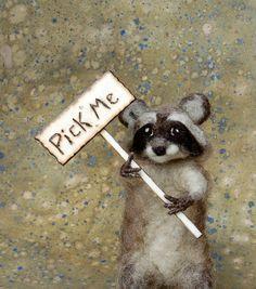 Needle Felted Ricardo the Raccoon