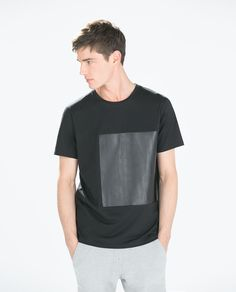 T-SHIRT WITH FAUX LEATHER SQUARE-Pattern-T-shirts-MAN | ZARA United States