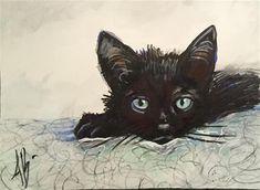 "Daily Paintworks - ""Black Kitten / print pattern"" - Original Fine Art for Sale - © Annette Balesteri"