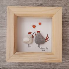 Chicken Valentine's gift, Valentine gift for her, Pebble Picture, Pebble art, Framed lovers present, Valentine's gift, kieselsteinbilder