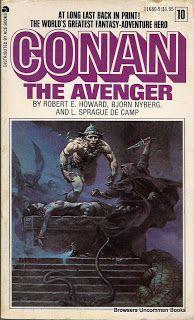 Howard, Robert E., Bjorn Nyberg, Camp L. Sprague De, and Frank Frazetta. Conan the Avenger. New York: Prestige, 1968. Print.  Paperback. Some rubbing. Slight edge, corner wear.