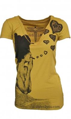 Love Smoke T-Shirt In Mustard