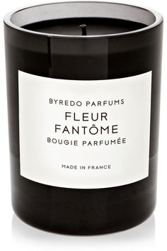 Byredo Fleur Fantome - ($80 for 10.5 oz, 60 hour burn); Top notes: Rhubarb, Lemon Petitgrain Leaves, Middle notes: Violet Leaves, Tulip Extract, Base notes: Galbanum, Heliotrope, Suede. Refreshing floral mix with a simple feel; smells like a beautiful garden