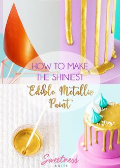 How to make the shiniest edible metallic paint. ONE ingredient added to edible lustre makes The Shiniest Edible Metallic Paint - dries fast & won't smudge!
