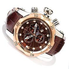 Men's Invicta Venom Elegant Edition Swiss Quartz Chronograph Watch w/Brown Leather Strap, Brown Dial and Gold Bezel.