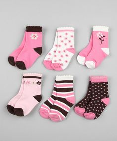 Pink & Brown Sock Set - #zulily #fall