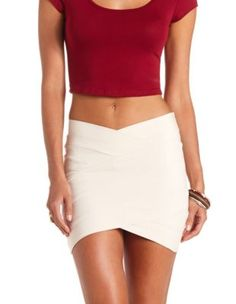 asymmetrical bandage mini skirt