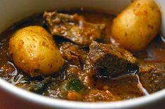 Tunisian - North African Venison Stew : venison, broth, tomato paste, onion, garlic, green pepper (poblano), potato, lovage or celery leaf, bay leaf, harissa, juniper berry