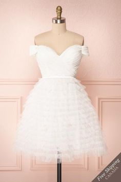 White layered tulle off-shoulder short A-line dress with sweetheart neckline. Shop now! White Tulle Dress, White A Line Dress, Short A Line Dress, Short Dresses, Wedding Dress With Veil, Wedding Dresses, Bride Dresses, White Off Shoulder