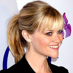 Perfect Ponytails Every Time.  InStyle - Bangs and ponytails are a fantastic combination, it's young but sophisticated at the same time.  Ponytails are great for second-day hair as layered pieces are less likely to fall out.