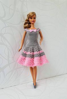 Barbie clothes Barbie Crochet Dress for Barbie Doll Crochet Barbie Patterns, Barbie Clothes Patterns, Crochet Barbie Clothes, Crochet Blanket Patterns, Clothing Patterns, Doll Clothes, Free Barbie, Barbie Wardrobe, Handmade Dresses