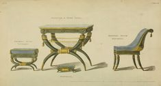Drawing room chair and accessories EKDuncan - My Fanciful Muse: Regency Furniture 1809 Ackermann's Repository Series 1 Empire Furniture, Regency Furniture, Vintage Furniture Design, Furniture Styles, French Furniture, Antique Furniture, Jane Austen, Drawing Room Furniture, Landscape Architecture Drawing