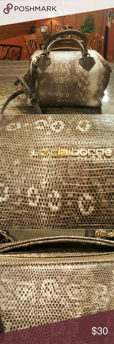 Liz Claiborne  purse. Snake skin. Taupe cream colors. 11 by 11 inches in size. Features  top hidden pocket near zipper to hold cell phone. Plenty of space inside with several pockets for purse organization. Liz Claiborne Bags Shoulder Bags