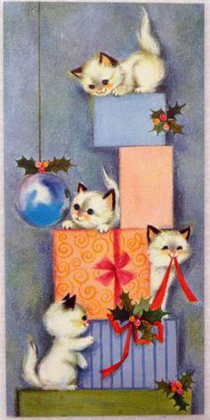 #645 60s Hallmark Playful Kitty Cats-Vintage Christmas Greeting Card (small version)