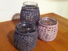 Hekle-lykter;) Pots, Mason Jars, Crochet, Diy, Crochet Hooks, Do It Yourself, Bricolage, Handyman Projects, Pottery