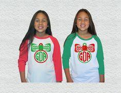Kids Christmas Monogram|Baseball Raglan Tee|Glitter Ornament|Youth|Toddler|Kids Christmas tshirt|Christmas outfit|Holiday outfit| by GavinsAllyeDesigns on Etsy