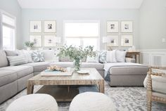 light and airy family room decor, cottage neutral living room decor with gray sectional sofa and poufs and spindle armchair with gallery wall, gray living room design Coastal Living Rooms, Room Design, Home Living Room, Home, Trendy Living Rooms, Living Room Sectional, Farm House Living Room, Living Room Grey, Gray Living Room Design