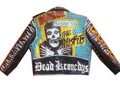 Punk Leather Jacket - The Misfits - Size Small - Studded - Minor Threat Discharg Levi Denim Jacket, Oversized Denim Jacket, Minor Threat, Painted Leather Jacket, Punk Jackets, Battle Jacket, Fashion Details, Men Fashion, Band Logos